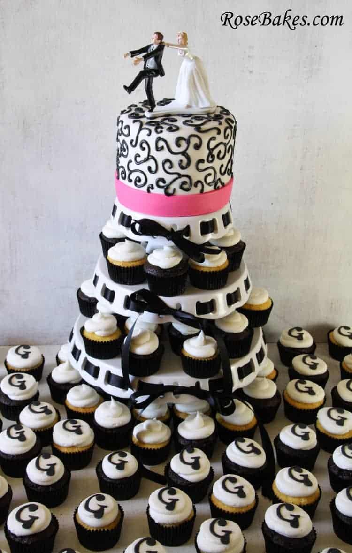 Black  Hot Pink Wedding Cake  Cupcake Tower