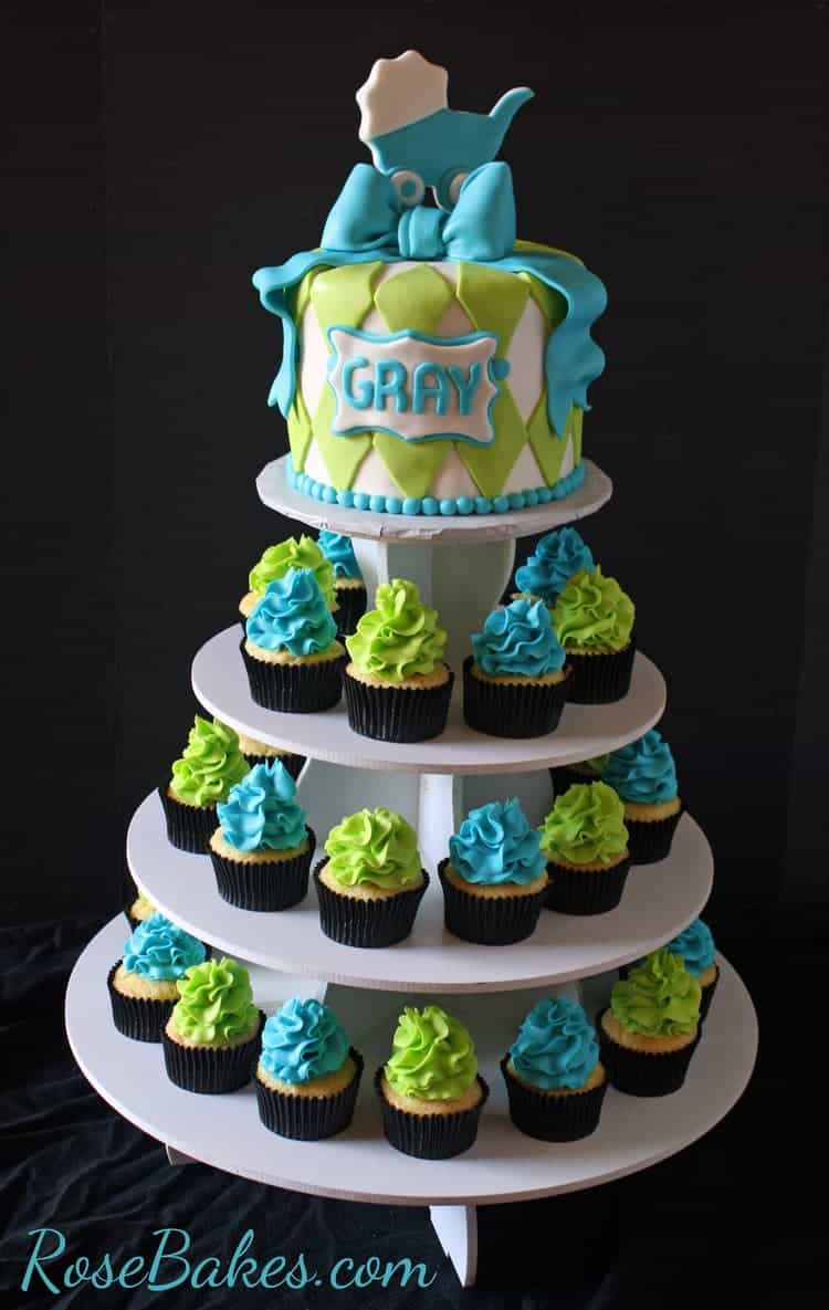 Turquoise U0026 Lime Green Baby Shower Cake And Cupcake Tower