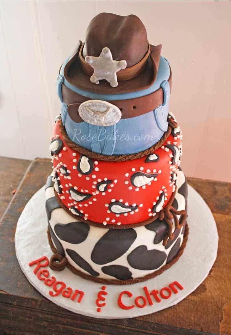 Cowboy Cake with Cow Print Red Bandanna Jeans  Cowboy Hat Cake Topper  Rose Bakes