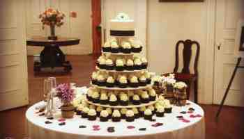 Black White Purple Wedding Cake And Cupcake Tower