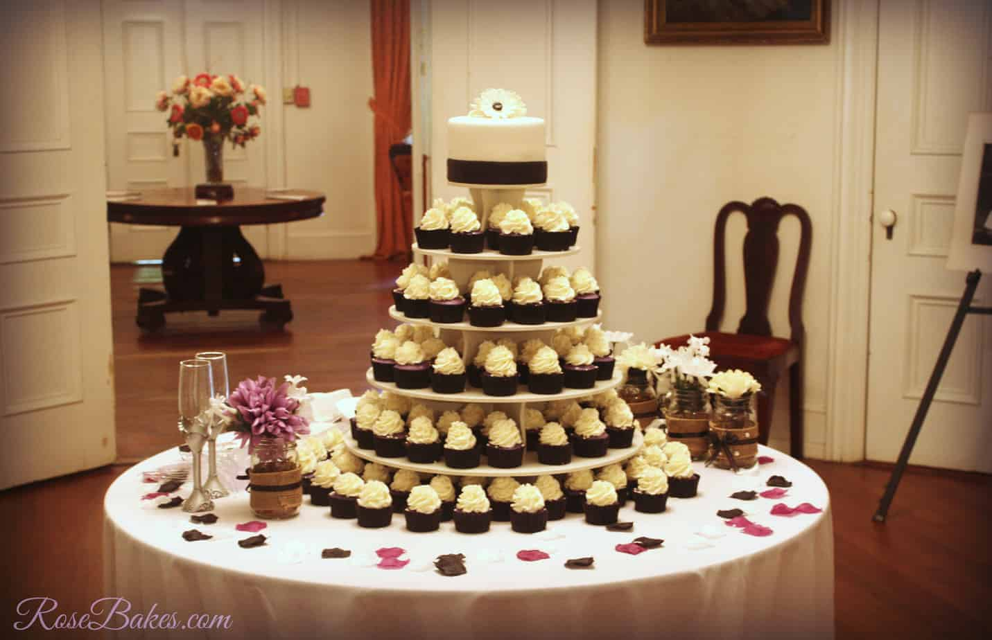 Black, White, U0026 Purple Wedding Cake And Cupcake Tower
