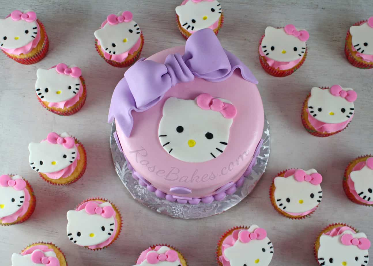 Hello Kitty Cake, Cupcakes & Candy Apples