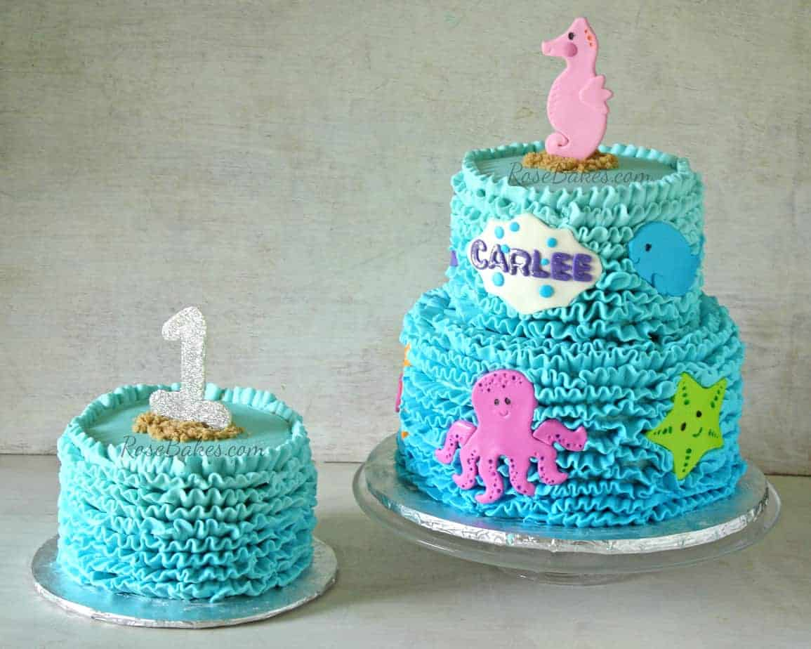 Buttercream Ruffles Under The Sea Cake & Smash Cake