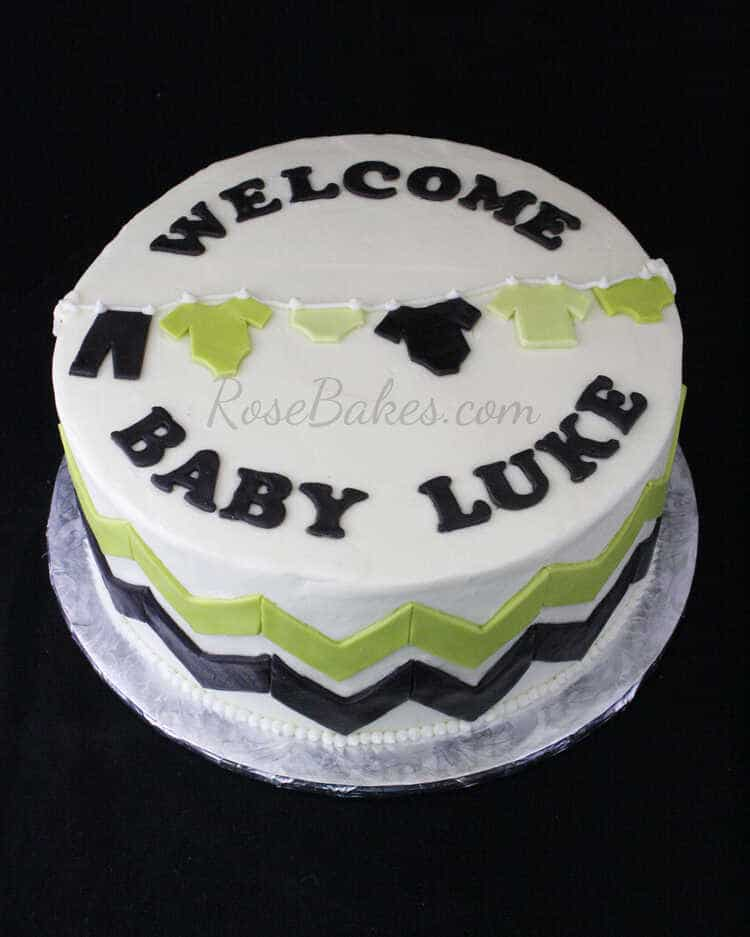 Chevron Clothes Line Baby Shower Cake