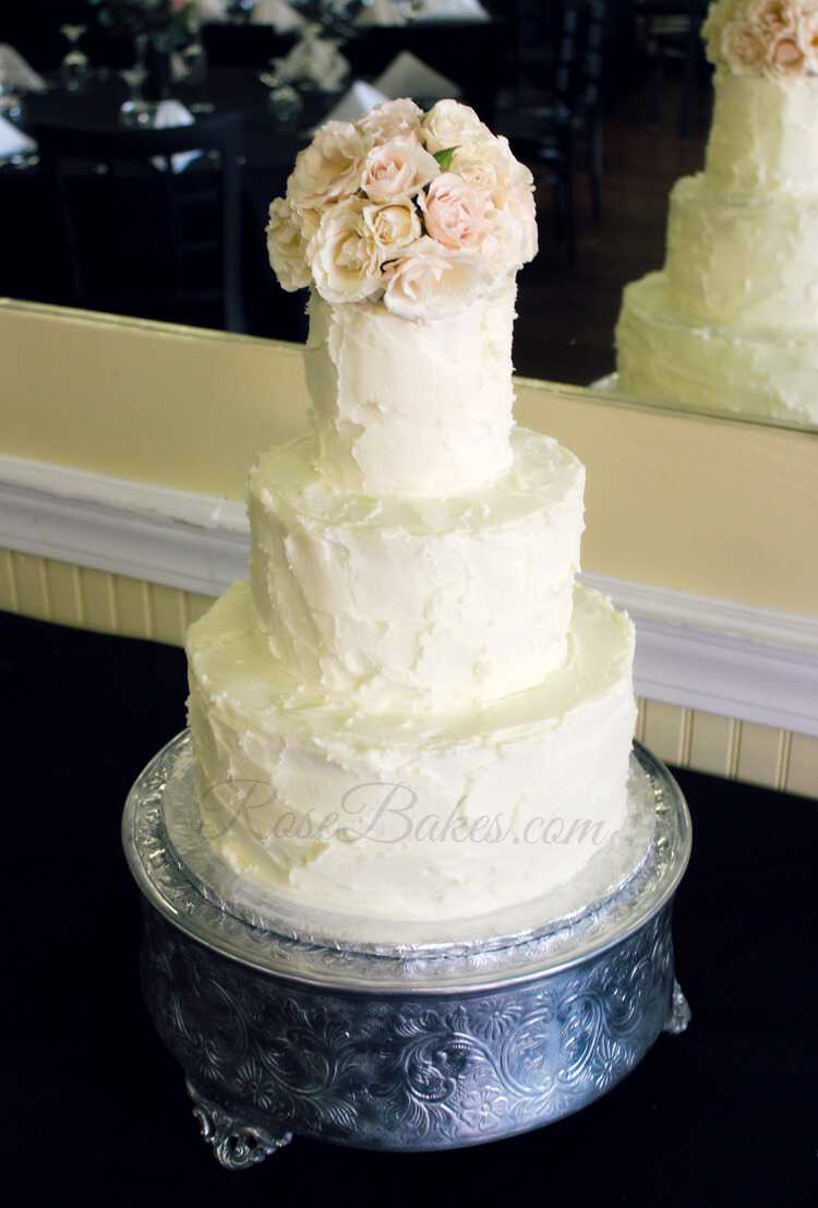 Simple Rustic Buttercream Wedding Cake  Rose Bakes