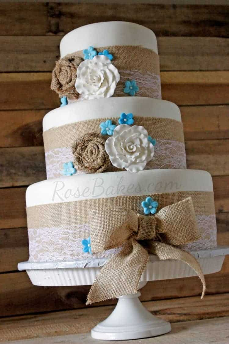 Burlap  Lace Rustic Wedding Cake  Rose Bakes