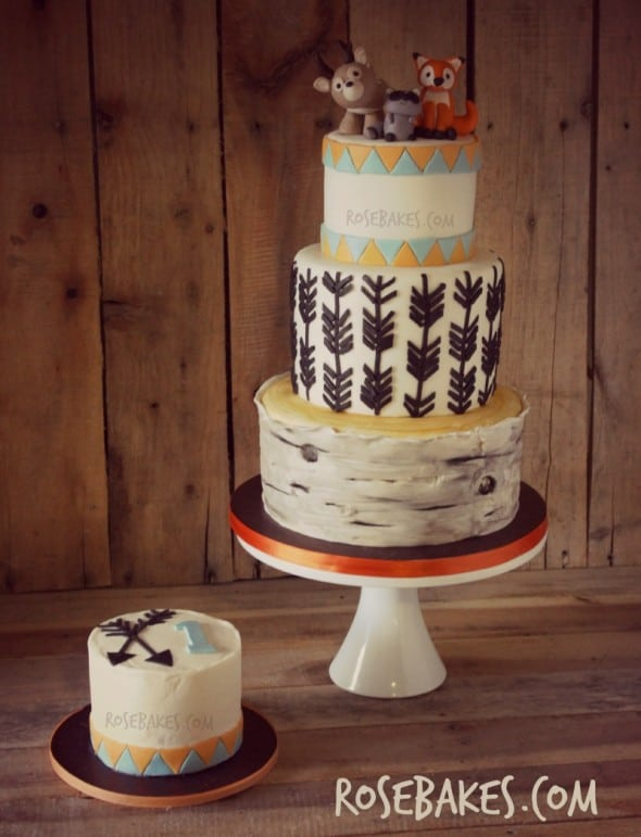 Woodland Animals Cake With Arrows & Birch Tree Rose Bakes
