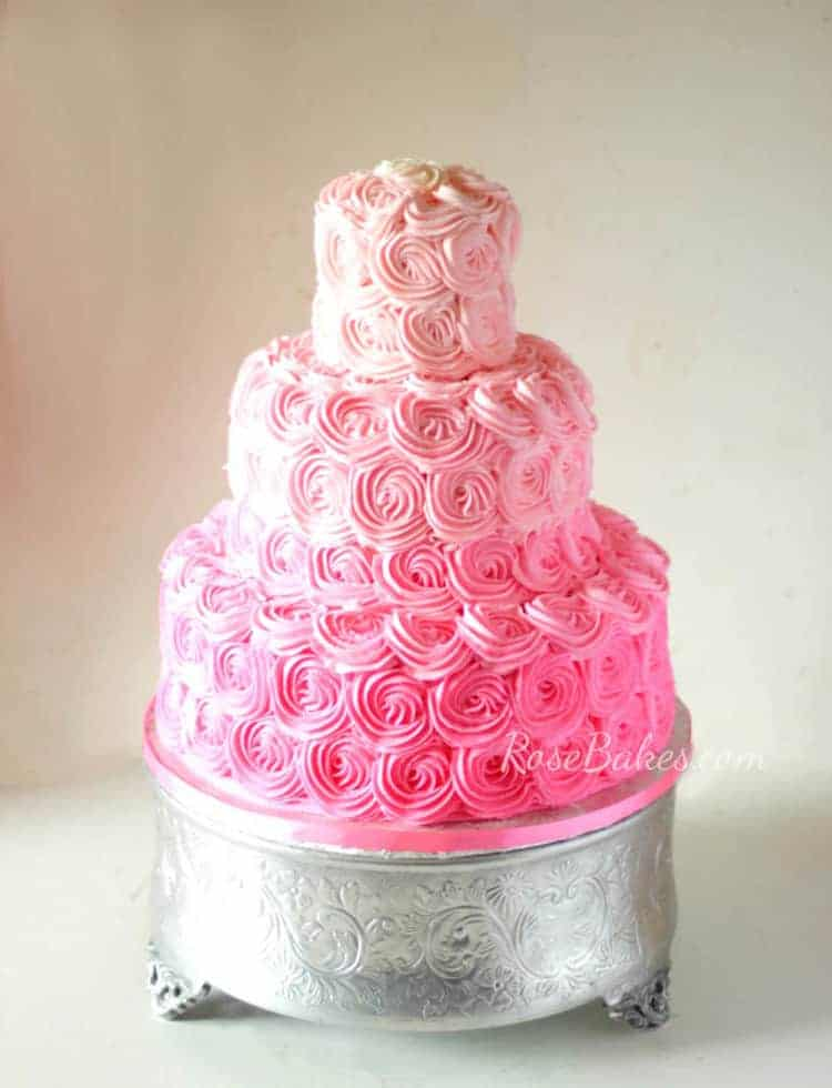 Pink Ombre Buttercream Roses Wedding Cake  Rose Bakes