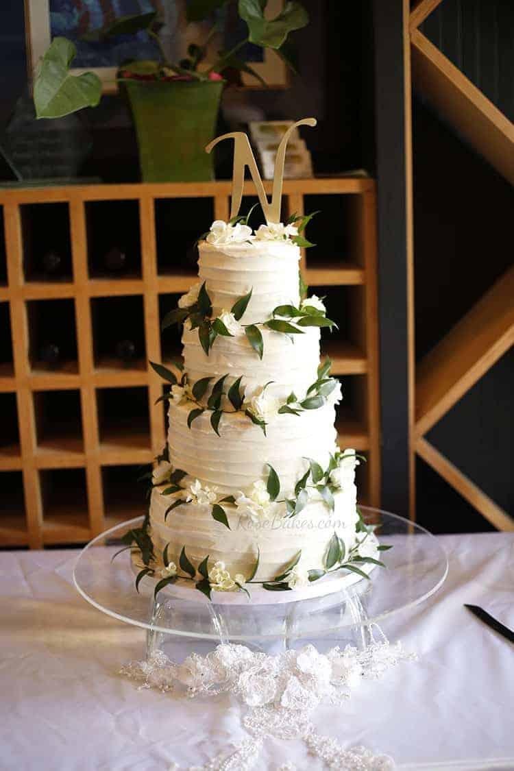 Textured Wedding Cake with Ruscus  Hydrangea  Rose Bakes