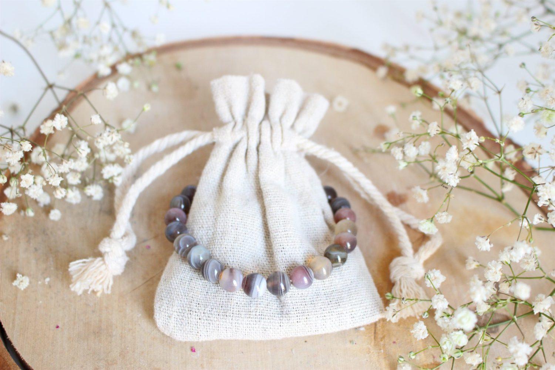 Bracelet aux pierres naturelles d'Agate du Botswana