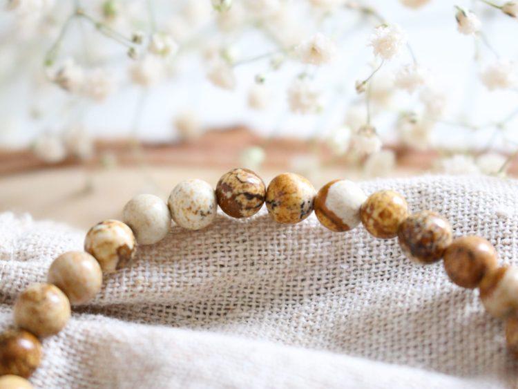 Bracelet en Jaspe Paysage Rose Blooming Mind