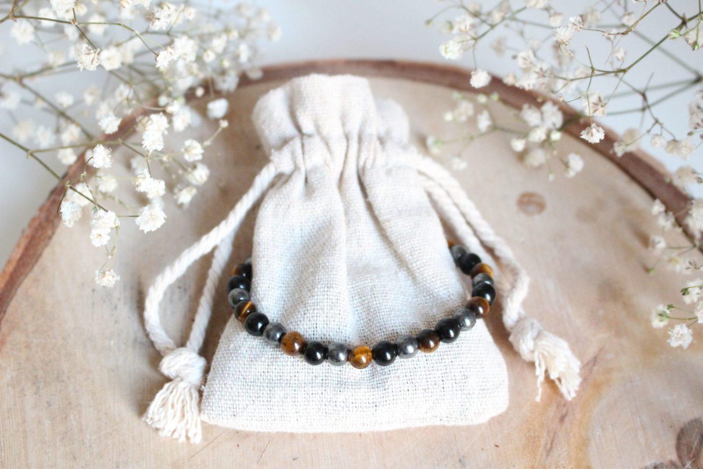 """Bracelet """"Triple Protection"""" en Obsidienne, Hématite et Œil de Tigre"""