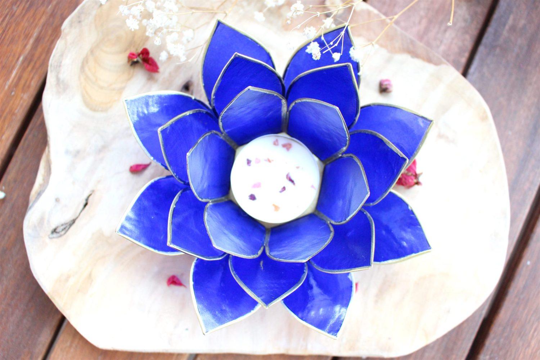 Photophore Fleur de Lotus indigo