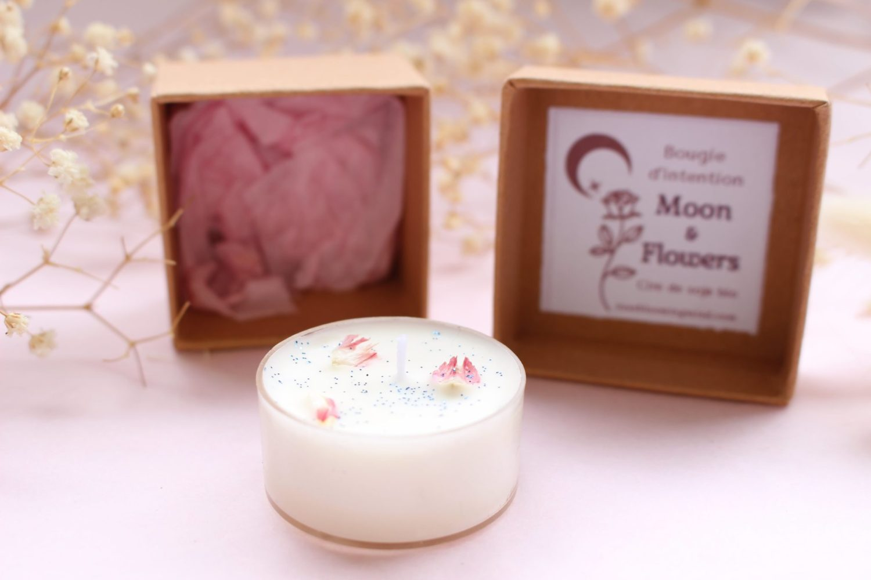 Bougie d'intention Moon & Flowers rituel