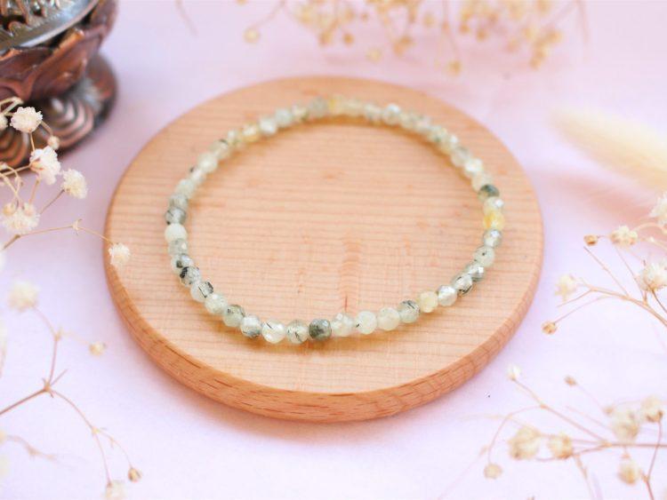 Bracelet en Prehnite facettée [4mm]