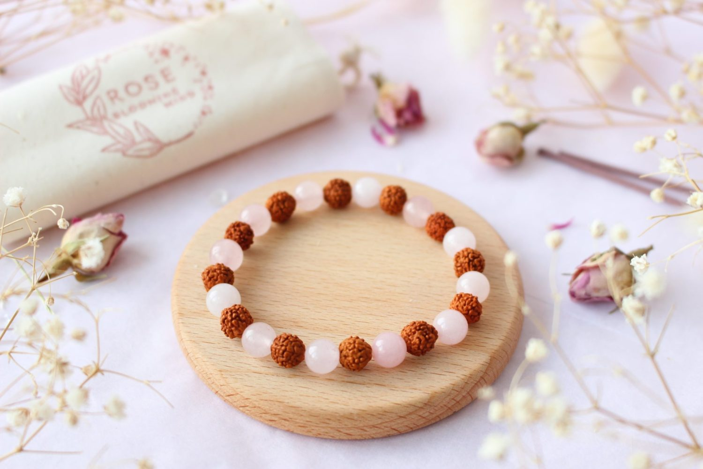 Bracelet en Quartz Rose & Rudraksha [6mm]