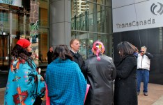 A prayer vigil held outside of TransCanada's head office