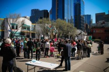 The crowd remaining after the march April 26-2015 yyc