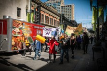Calgary climate march on Stephen Avenue April 26-2015