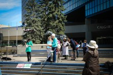Speakers before the Climate Action March - Calgary April 26 - 2015