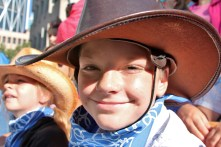 a boy at the stampede parade - I don't trust the police