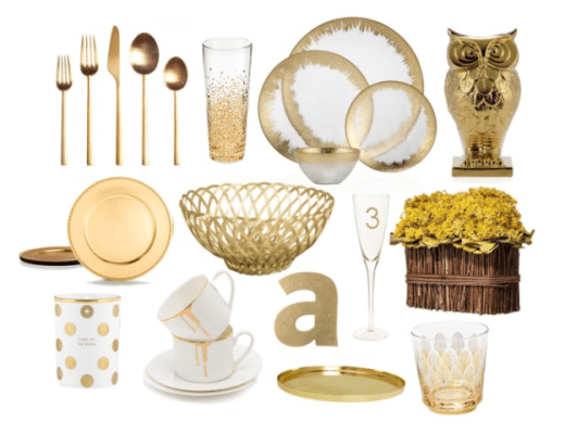 gold home decor, home decor, gold silverware, gold cutlery, gold plates, gold mug, gold charger plates
