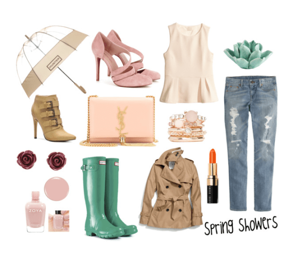 spring showers, spring fashion, spring pastels, windsor fashion, ontario fashion blog, canadian fashion blog, coach trench, hunter boots, pink nail polish