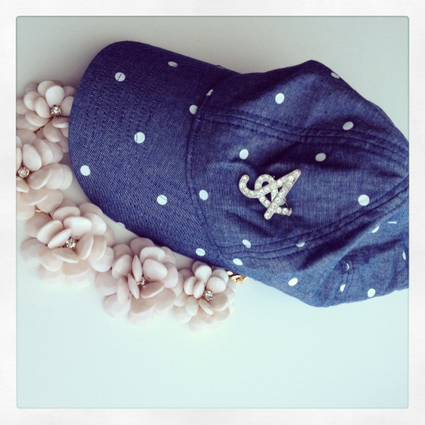 jcrew hat, polka dots, bauble bar, aldo necklace, a pin, chambray hat