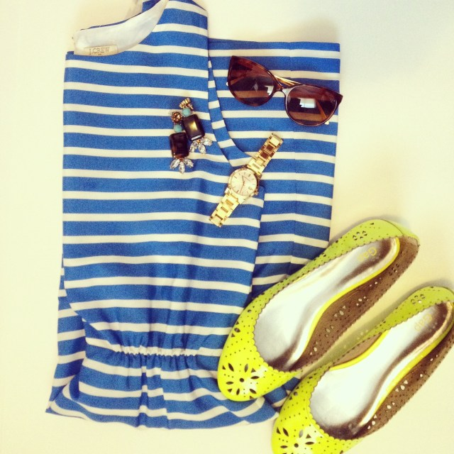 sunny day style striped dress yellow flats - Copy