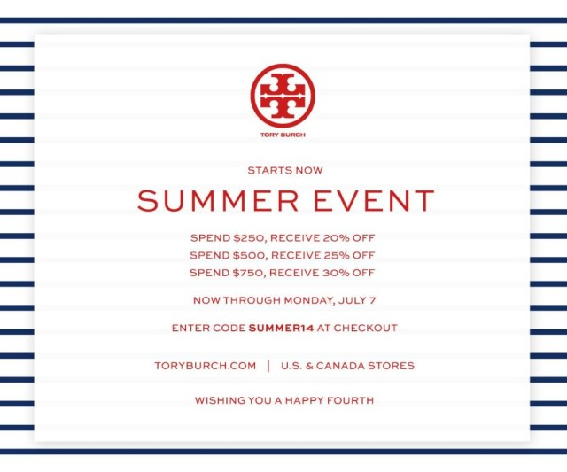 7e4903f6459e Sale Alerts  Tory Burch Summer Sale