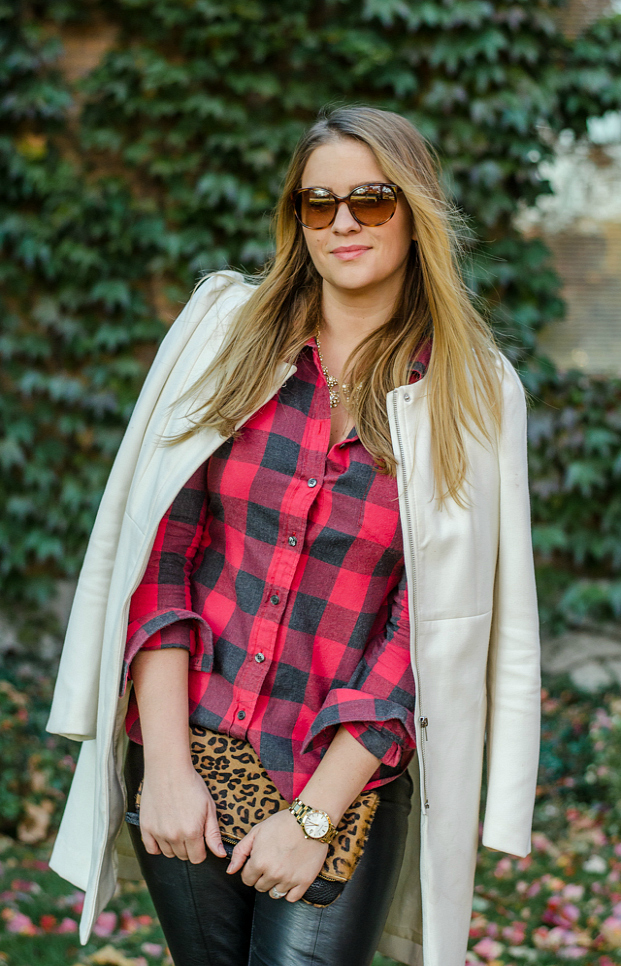 rose-city-style-guide-fall-outfit-plaid-shirt-leopard-clutch-fashion-blog-lifestyle-blog-canadian-flannel-shirt-leopard-clutch-leather-pants-zara-heels