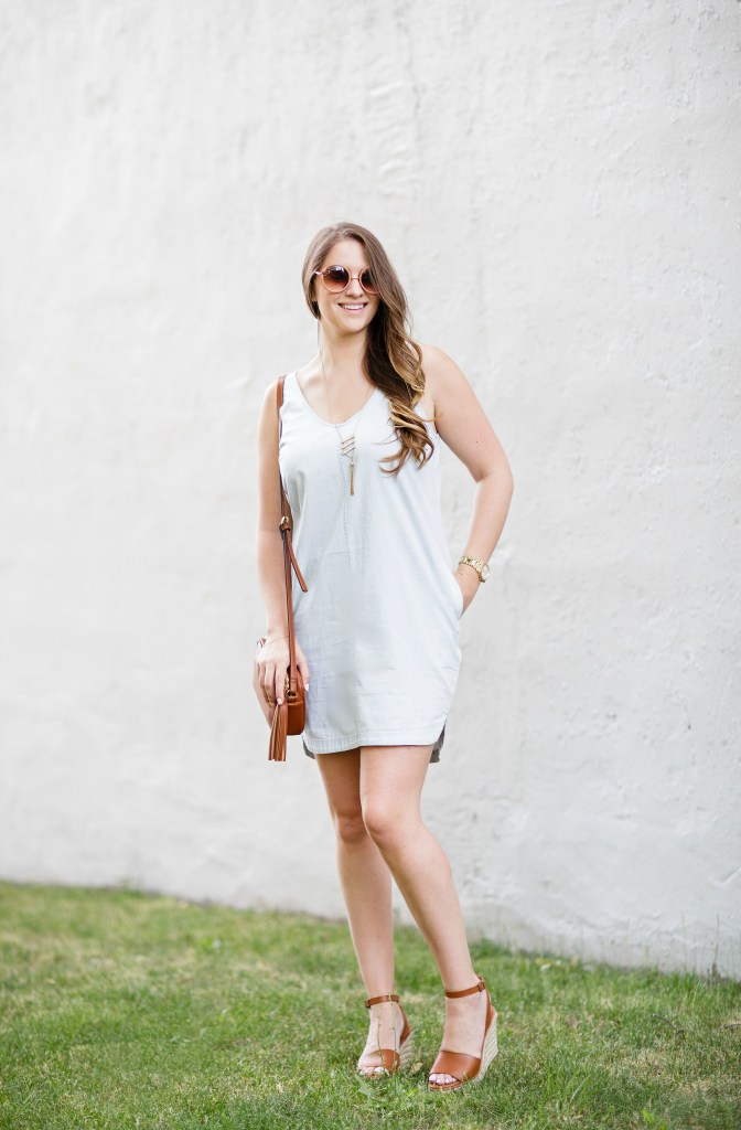 summer-sun-dress-chambray-old-navy-crossbody-round-sunglasses-wedges-rosecitystyleguide-canadian-blogger-1