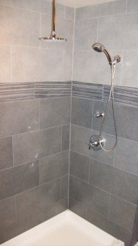 Wonderful shower tile and beautiful lavs!