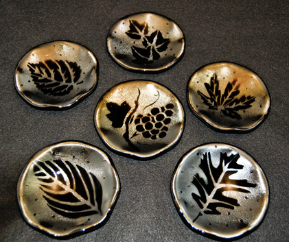 "AUTUMN SHADOWS Fluted 5"" bowls with sandblasted design."