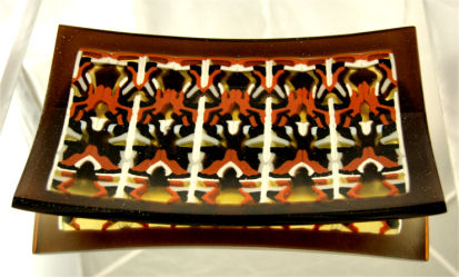 "CHOCOLATE DECADENCE 10"" x 6"" sushi platter with pattern bar slices and cold worked edges."