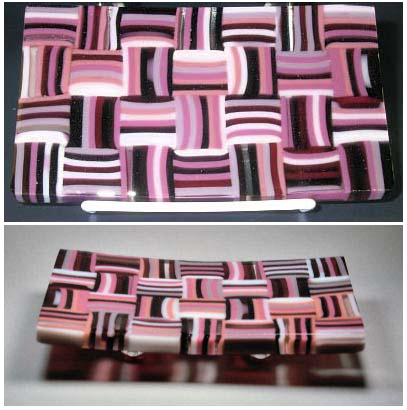 "PINK MARTINI 7"" x 4"" pattern bar sushi dish with cold worked edges."
