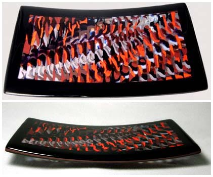 SPACETIME CONTINUUM Cold worked footed platter with pattern bar design.