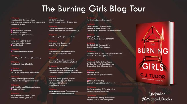 blog tour poster for the Burning Girls