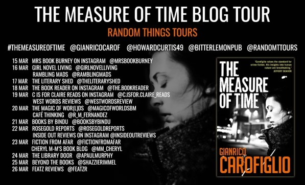 a blog tour poster with dates and blog names for the measure of time