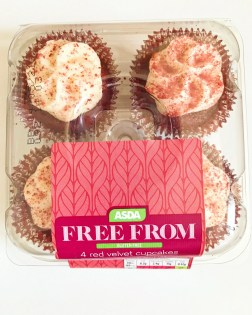 a box of ASDA free from 4 red velvet cupcakes