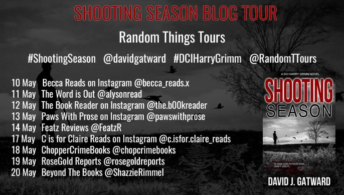 the blog tour poster for Shooting Season with dates and blog names