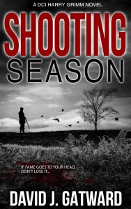 The front cover of Shooting Season, featuring a countryside landscape in black and white with a man and a shotgun surrounded by flying birds