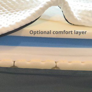 a photograph showing the emma hybrid mattress. the cover has been unzipped and an additional layer of foam placed upon the existing foam mattress.
