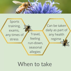a sage green background with gold hexagons arrange lattice style like honeycomb with details of when to take listed inside. Across the top there is a shot of a bee on a blue flower