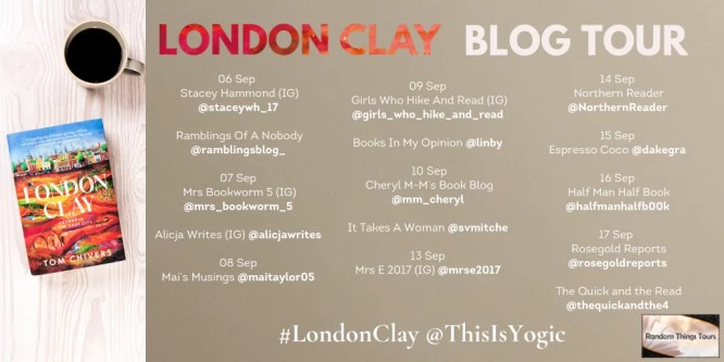 blog tour poster for london clay with blog names and dates