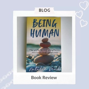 """being human front cover on a pale blue background, the words """"book review"""" feature underneath"""