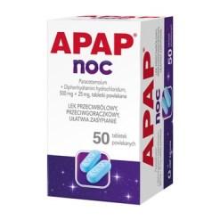 Apap Noc, 500 mg + 25 mg, Filmtabletten, 50 Stück (Flasche