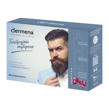 Aktionsset Dermena Men, Shampoo, 200 ml regenerierende Nachtcreme, 50 ml beruhigendes Gesichtswaschgel, 150 ml GRATIS