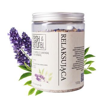 Fresh Natural, entspannendes Badesalz mit Lavendel und grünem Tee, 1000 g