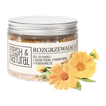Fresh Natural, wärmendes Badesalz, Ringelblume, Zimt, Orange, 500 g